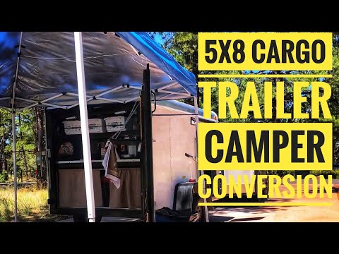 🇺🇸Our 5x8 Cargo Trailer Camper Conversion! First test run! (Watch to the end for build photos)