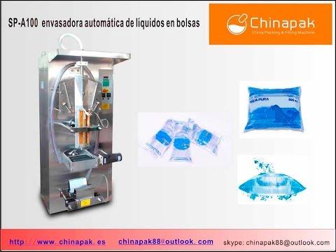 Máquina envasadora de líquidos en bolsas de plástico