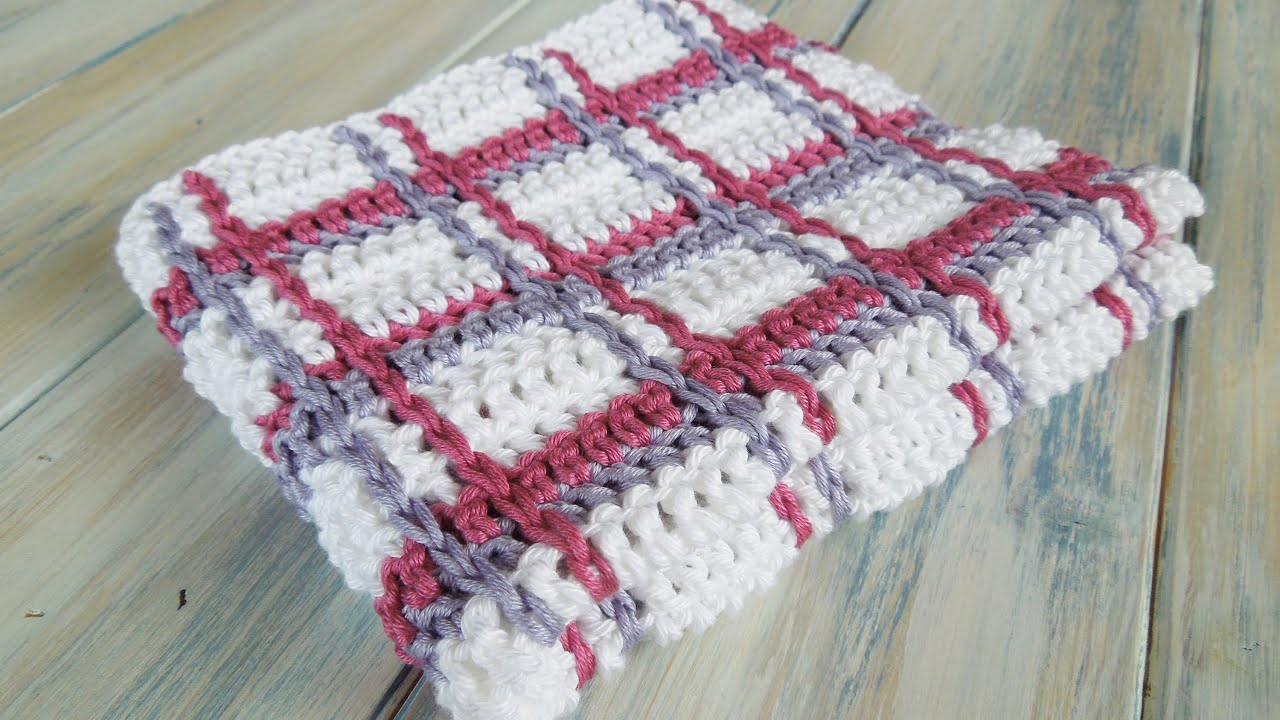 Crochet) How To - Crochet Tartan Plaid Wash Cloths - YouTube