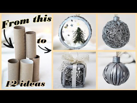 12 IDEAS How to make CHRISTMAS Ornaments from PAPER ROLLS | DIY crafts