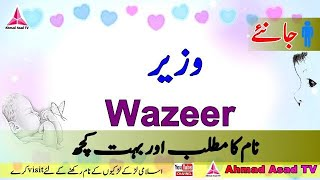 Wazeer Name Meaning in Urdu