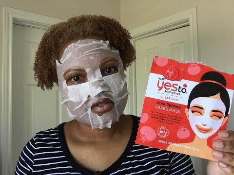Yes To Tomatoes Acne Fighting Paper Face Mask Review and Demo | MichelleTatenda