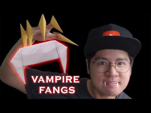 How to make paper Origami dracula vampire fangs teeth Halloween