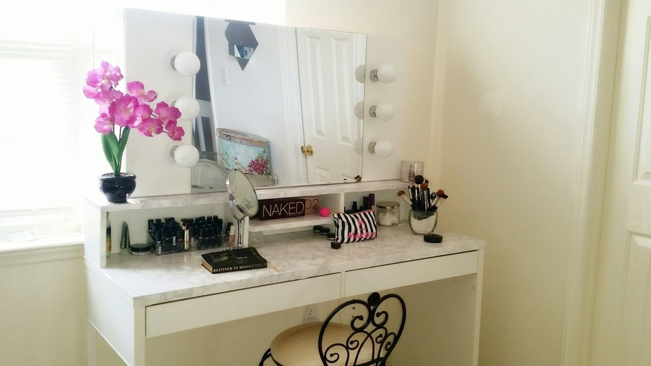 DIY Hollywood Vanity with Lights...Vanity Girl Inspired - YouTube