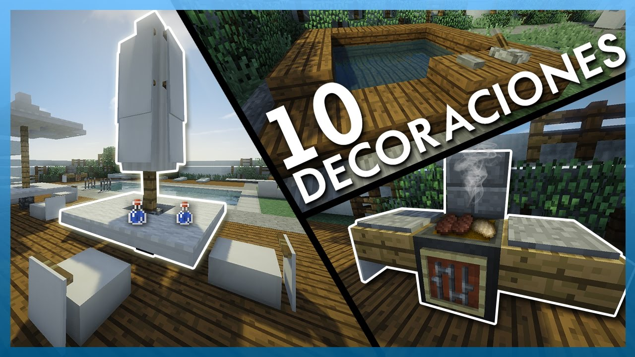 Minecraft 10 decoraciones geniales para tu patio piscina for Decoracion patio con piscina
