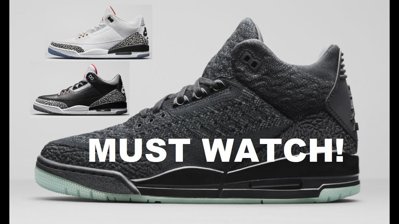 sale retailer 03396 a1945 Air Jordan 3 Flyknit , Black Cement & Foul Line White Cement Clear Sole III  2018 Retro Sneakers