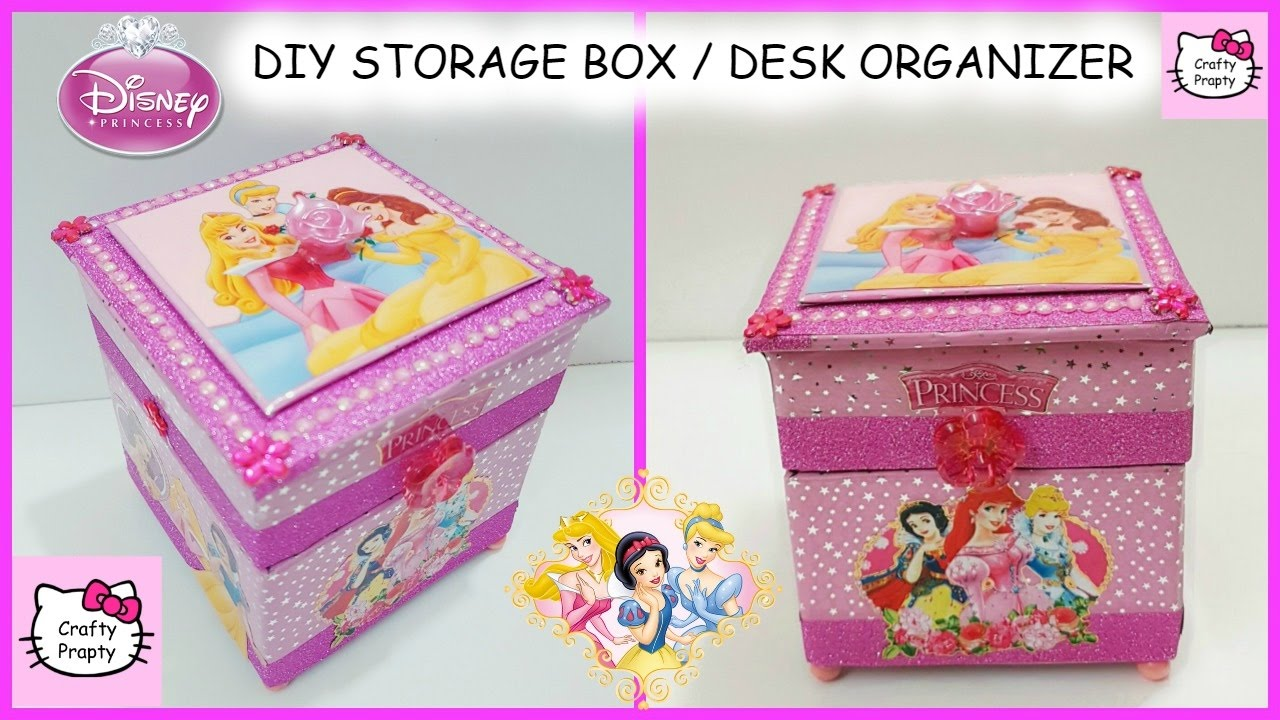 DIY Desk Organizer/DIY Storage Box/DIY Disney Princess Treasure Box/diy  Jewelry Box   YouTube