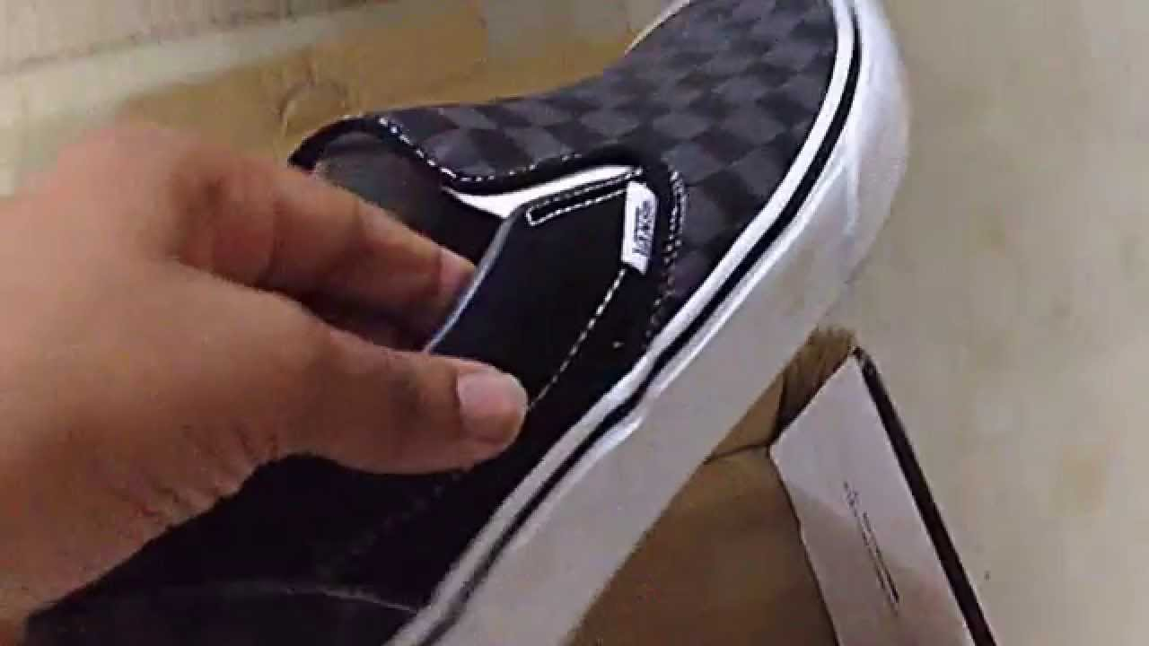Unboxing of vans slip-on black pewter checkerboard. Price -Rs ... b0adf67d6