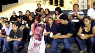 Periodistas de Coatza depositan veladoras para Gregorio Jiménez de la Cruz