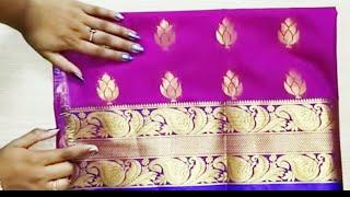 Paithani blouse back neck design cutting and stitching /model blouse designs