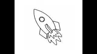 rocket space easy drawing draw step