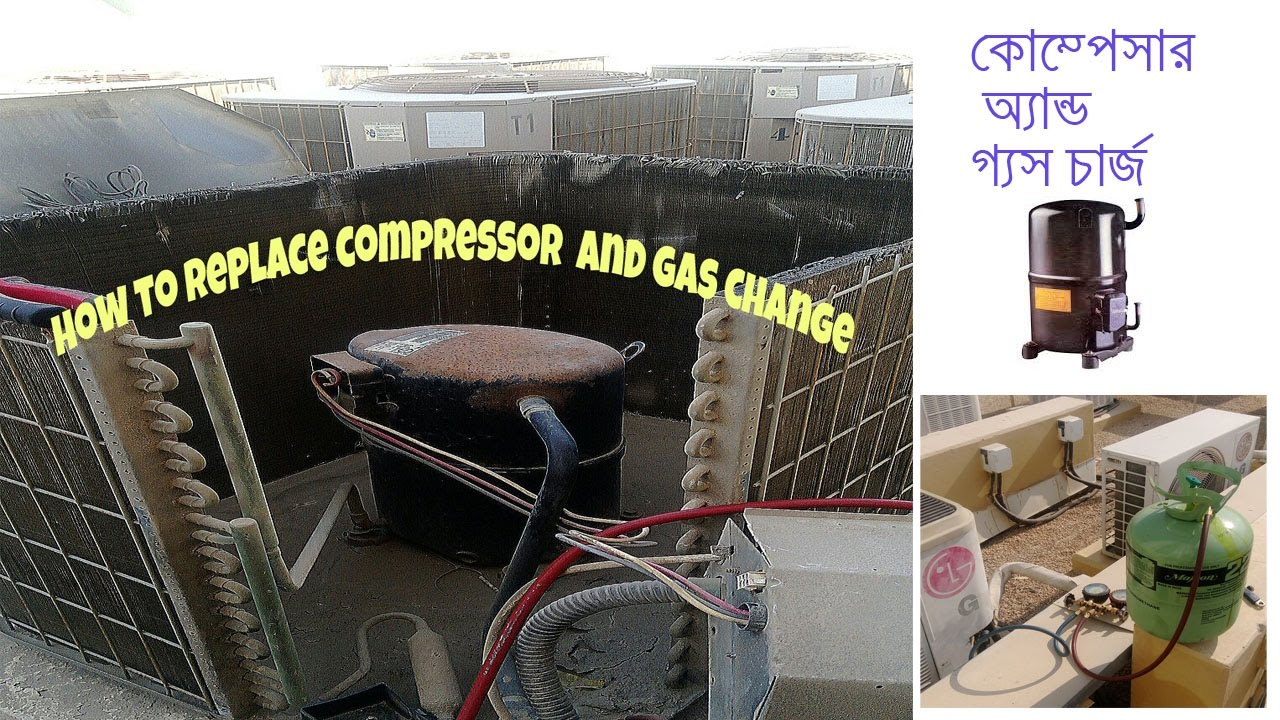 How To Replacing A Compressor And R22 Gas Charging Ac Work In Dubai Maintenance