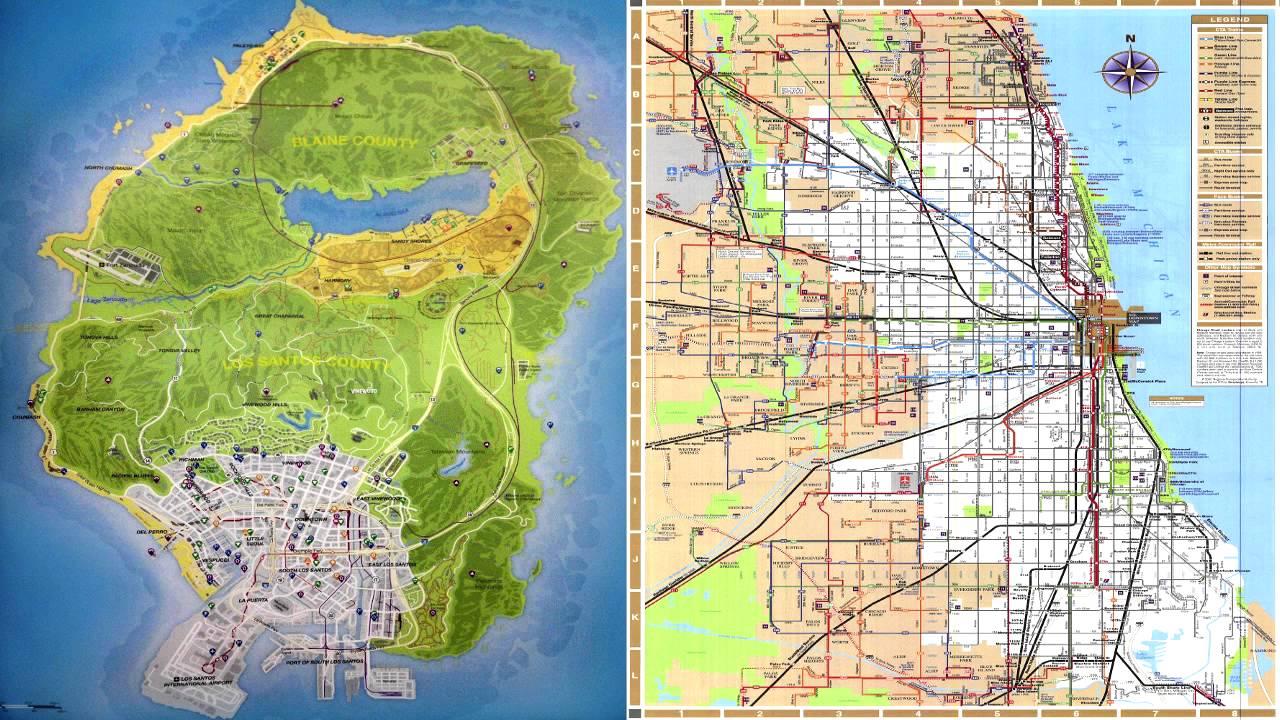 Teora Comparacin Mapa de Chicago Watch Dogs mas grande que GTA