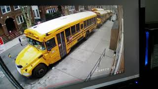 reckless driver on sidewalk nearly hit children in front of a school