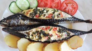Запекаем скумбрию с овощами. Baked mackerel with vegetables.