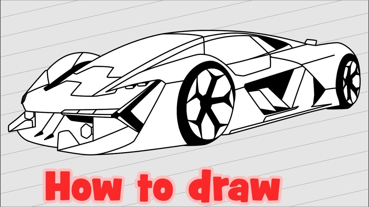 How To Draw A Supercar Lamborghini Terzo Millennio Youtube