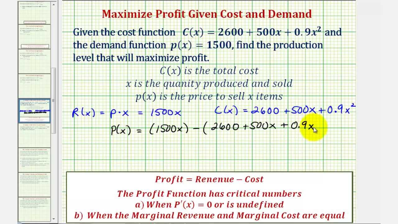 profit maximising price and quantity relationship