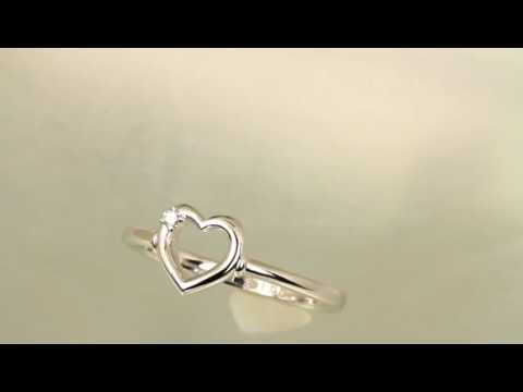 Diamond Heart Promise Ring in 14 kt Gold or Sterling