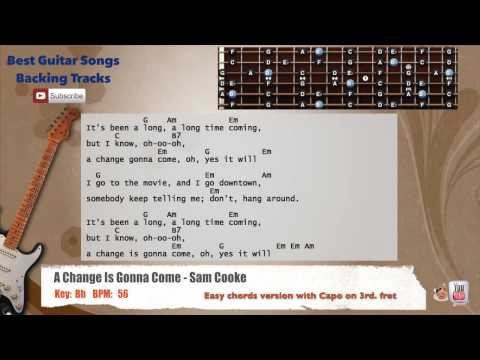 A Change Is Gonna Come - Sam Cooke Guitar Backing Track with scale, chords and lyrics