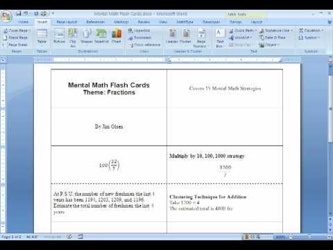 Making Flash Cards using MSWord (#2 of 2) - YouTube - make index card