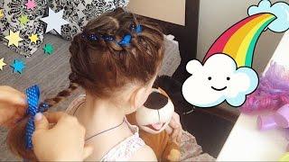 ПРОСТАЯ КРАСИВАЯ ПРИЧЁСКА для девочки Как заплести КОСУ как вплести в волосы ленту