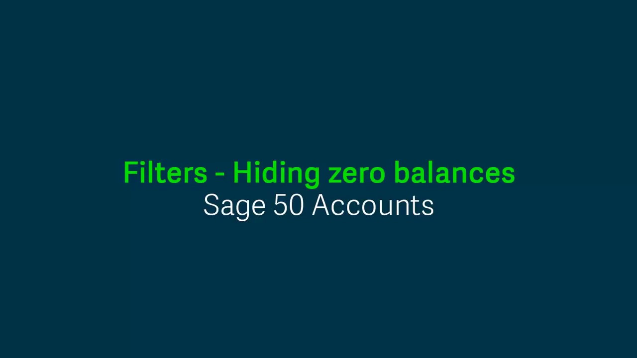 Sage 50 Accounts (UK) - Filters - Hiding zero balances