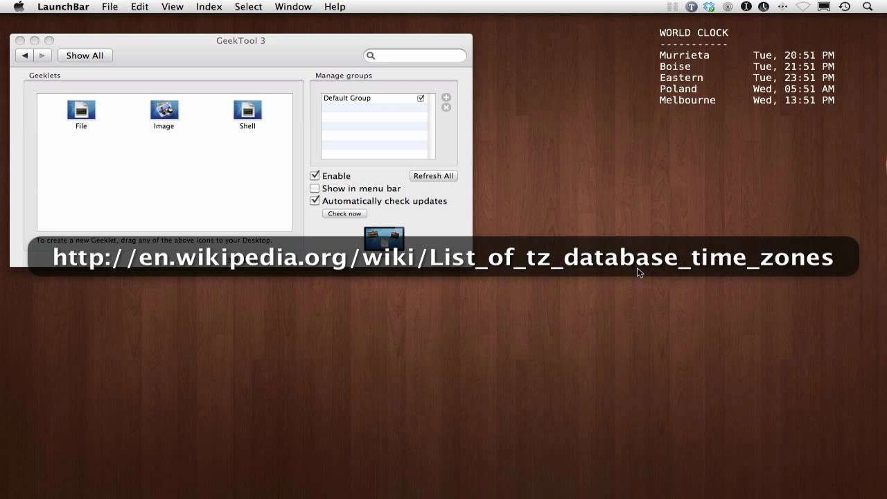 Easy Mac Desktop World Clock using GeekTool