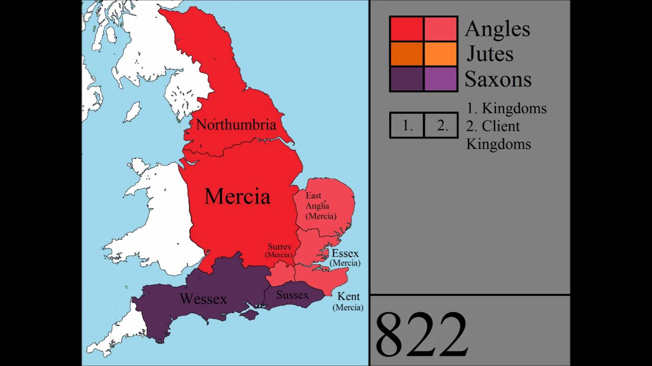Map Of England Northumbria.Anglo Saxon Britain