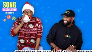 PJ MORTON sings Beyonce, Stevie Wonder, and Kirk Franklin | SONG ASSOCIATION | CHRISTMAS SPECIAL!