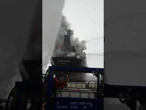 MV GOLDEN OCEAN Bulk carrier on fire, crew abandoning the ship,