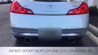 infiniti q60 g37 sport muffler and stillen intake kit