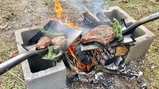 Cooking Steak On A Shovel