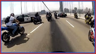 POLICE Attempt To SHUT DOWN Oakland Bridge On Motorcycles Bikes Vs Cops