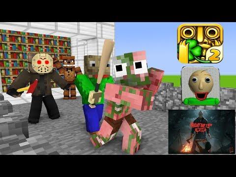 Monster School : BALDI'S BASIC VS TEMPLE RUN CHALLENGE - Minecraft Animation