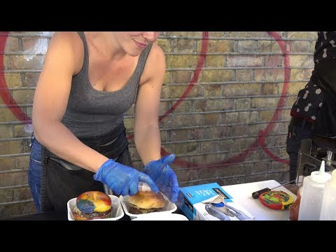 Stacked Burgers on Rainbow Bagels. Amazing Street Food of London Brick Lane