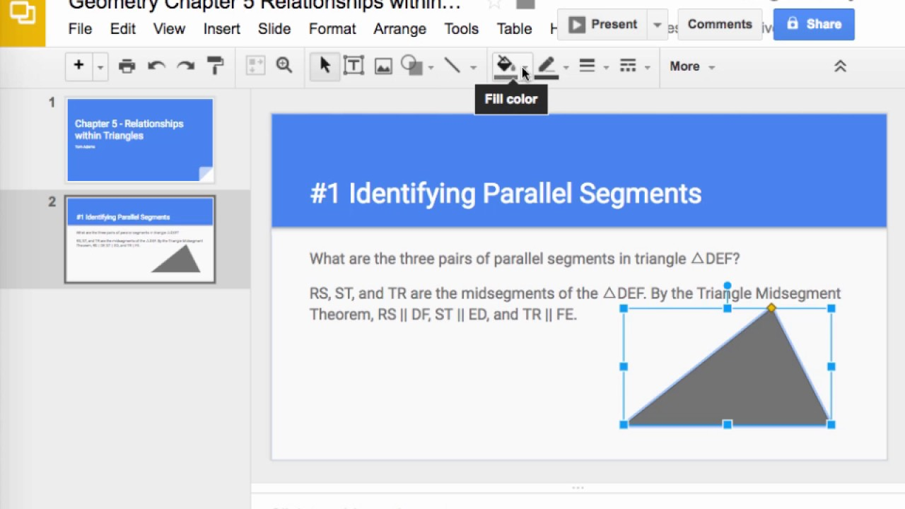 creating a google slide presentation for geometry youtube
