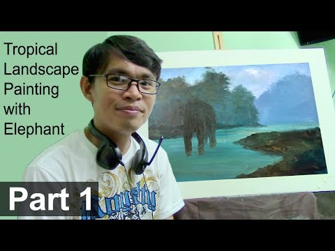 Acrylic Landscape Painting Tutorial Tropical Forest with Elephant | Basic Blocking In | Part 1