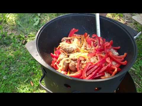 Огонь&Еда Готовим вкуснейшие купаты в казане в лесу с овощами.