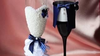 Идеи оформления свадебных бокалов