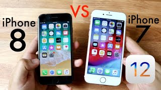 iPHONE 7 Vs iPHONE 8 On iOS 12! (Speed Comparison) (Review)