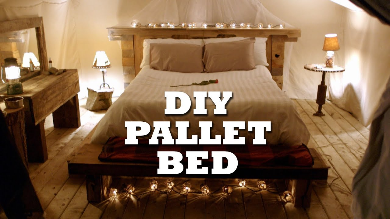 How To Build A Rustic Pallet Bed Amp Headboard Youtube