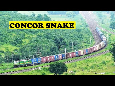 Long Concor Container Freight Snakes Through Sanchi Hills from YouTube · Duration:  3 minutes 4 seconds