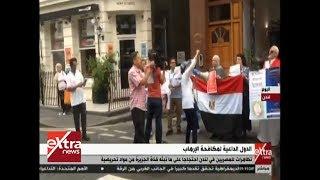 فيديو| تظاهرات عشرات المصريين في لندن احتجاجا على قناة الجزيرة