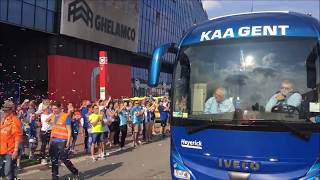 Zó werd de Gentse spelersbus verwelkomd voor KAA Gent-RSC Anderlecht