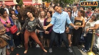 Sarah Shahi Shows Off Her Cheerleader Moves at the Grove!