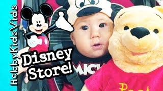 Disney Store Grand Opening in Mall! Toy Haul + HobbyBabyGator Looks Like Mickey Mouse HobbyKidsVids