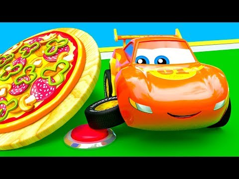 Little Cars Make a Huge Pizza - Find The Button Challenge!