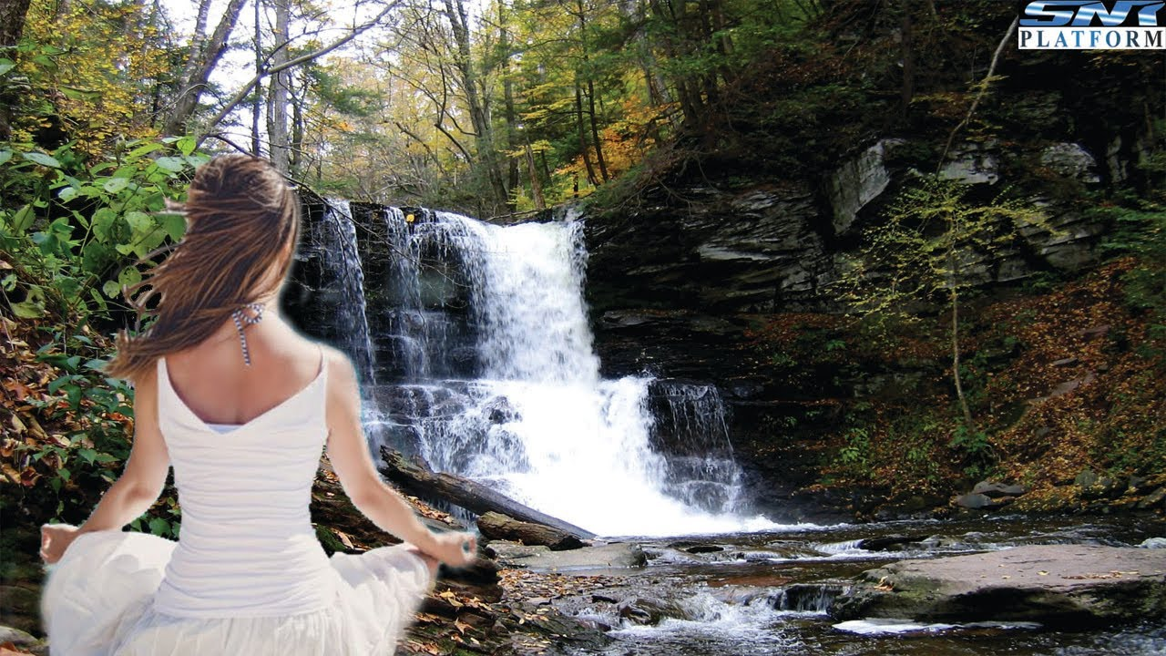 Calm meditative music, with a waterfall background, for relaxation & concentration