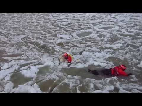 Labrador rescued from ice by USCG Frankfort, Michigan