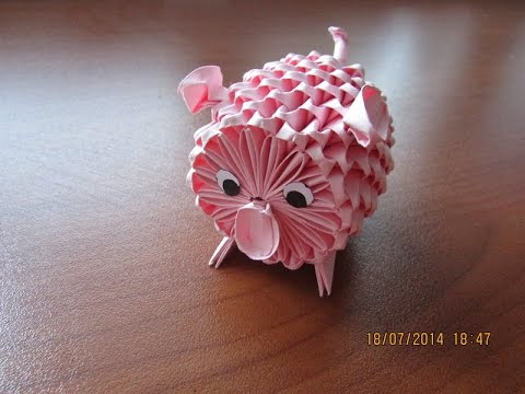 How to make a 3D origami Piggy - YouTube